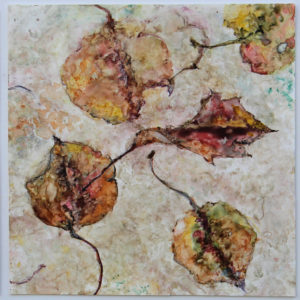 Anita Helen Cohen, Autumn Triptych, watercolor on yupo synthetic paper, 13 x 30 inches, $750