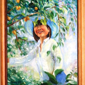Nhung Mackey, Working in Garden, oil on canvas, 22 x 18 inches, $600