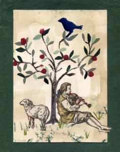 Phoebe Ann Erb, Rest on Sunday Under the Apple Tree, mixed media collage, 11 1:2 x 13 1:2 inches, $125