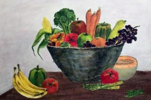Ruth Rieffanaugh, Harvest, mixed media, 30 x 19 inches, $425