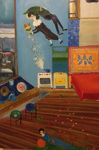 Alexandra Rozenman, Living With Mark and Bella in a Soviet Communal Apartment, oil on canvas, 40 x 60 inches, $7,500